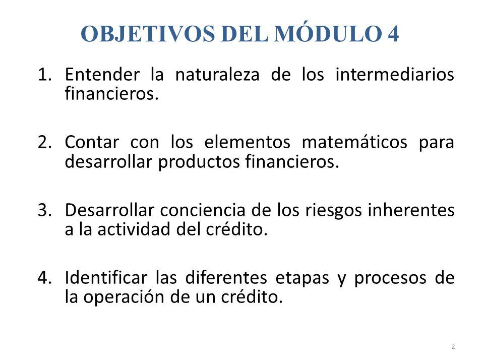 1.Entender la naturaleza de los intermediarios financieros. 2.Contar con los elementos matemáticos para desarrollar productos financieros. 3.Desarroll
