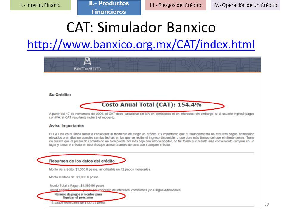 CAT: Simulador Banxico http://www.banxico.org.mx/CAT/index.html http://www.banxico.org.mx/CAT/index.html 30 I.- Interm. Financ. II.- Productos Financi