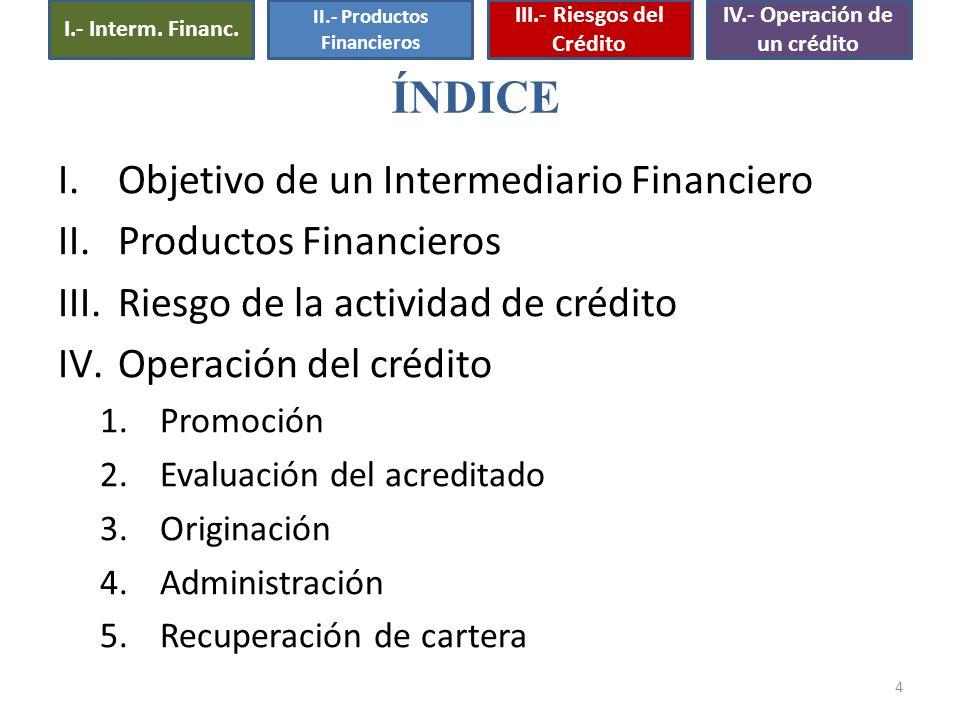 4 I.Objetivo de un Intermediario Financiero II.Productos Financieros III.Riesgo de la actividad de crédito IV.Operación del crédito 1.Promoción 2.Eval