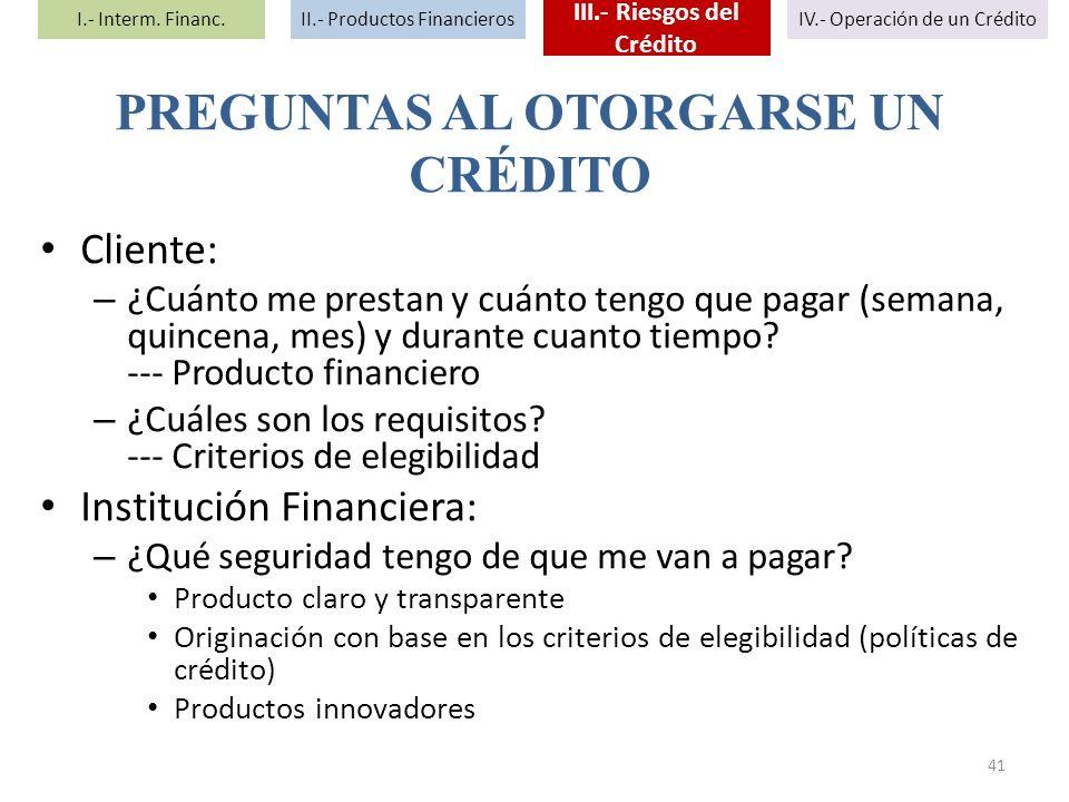 Cliente: – ¿Cuánto me prestan y cuánto tengo que pagar (semana, quincena, mes) y durante cuanto tiempo? --- Producto financiero – ¿Cuáles son los requ