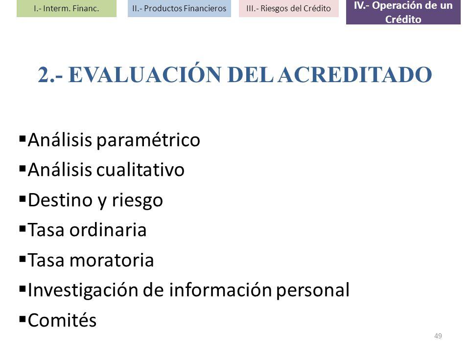 Análisis paramétrico Análisis cualitativo Destino y riesgo Tasa ordinaria Tasa moratoria Investigación de información personal Comités 2.- EVALUACIÓN