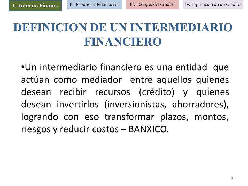 5 I.- Interm. Financ. II.- Productos FinancierosIII.- Riesgos del CréditoIV.- Operación de un Crédito Un intermediario financiero es una entidad que a