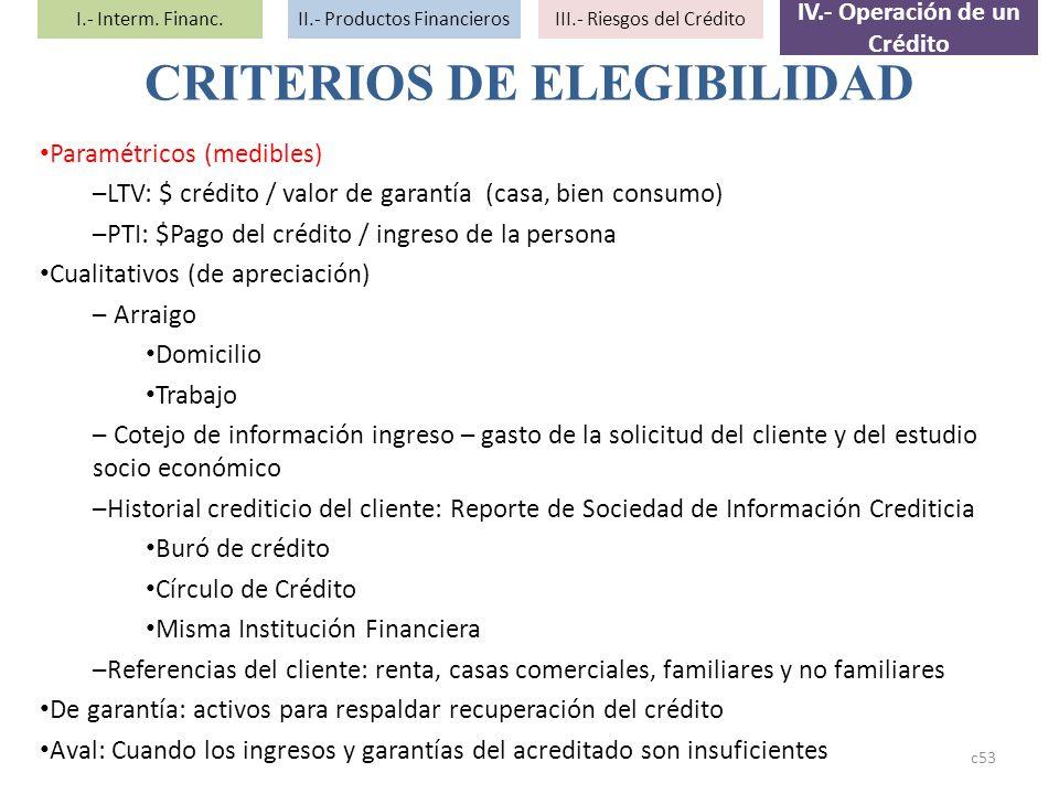 Paramétricos (medibles) –LTV: $ crédito / valor de garantía (casa, bien consumo) –PTI: $Pago del crédito / ingreso de la persona Cualitativos (de apre