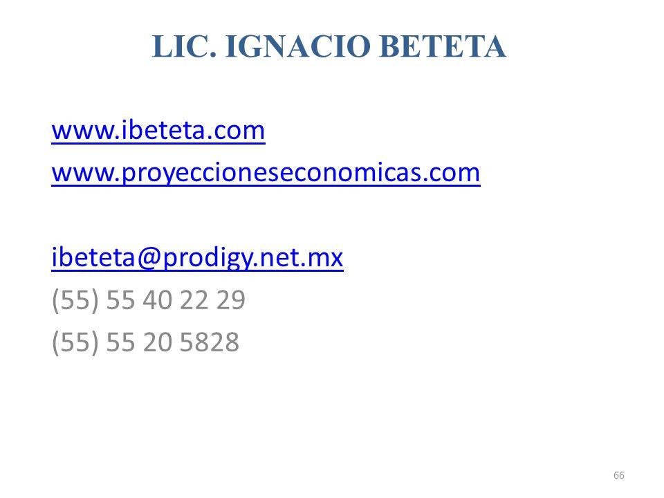 www.ibeteta.com www.proyeccioneseconomicas.com ibeteta@prodigy.net.mx (55) 55 40 22 29 (55) 55 20 5828 LIC. IGNACIO BETETA 66