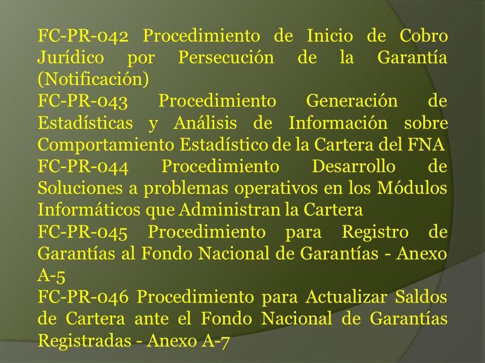 FC-PR-042 Procedimiento de Inicio de Cobro Jurídico por Persecución de la Garantía (Notificación) FC-PR-043 Procedimiento Generación de Estadísticas y Análisis de Información sobre Comportamiento Estadístico de la Cartera del FNA FC-PR-044 Procedimiento Desarrollo de Soluciones a problemas operativos en los Módulos Informáticos que Administran la Cartera FC-PR-045 Procedimiento para Registro de Garantías al Fondo Nacional de Garantías - Anexo A-5 FC-PR-046 Procedimiento para Actualizar Saldos de Cartera ante el Fondo Nacional de Garantías Registradas - Anexo A-7
