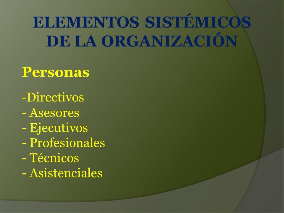 ELEMENTOS SISTÉMICOS DE LA ORGANIZACIÓN -Directivos - Asesores - Ejecutivos - Profesionales - Técnicos - Asistenciales Personas