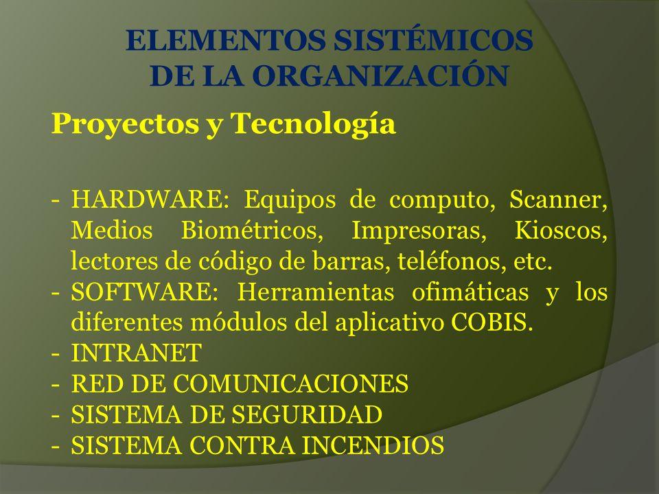 ELEMENTOS SISTÉMICOS DE LA ORGANIZACIÓN Proyectos y Tecnología -HARDWARE: Equipos de computo, Scanner, Medios Biométricos, Impresoras, Kioscos, lectores de código de barras, teléfonos, etc.