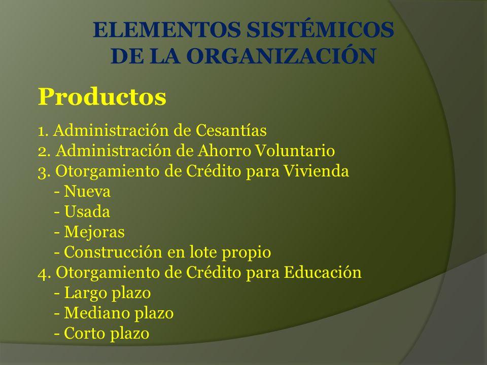 ELEMENTOS SISTÉMICOS DE LA ORGANIZACIÓN Productos 1.