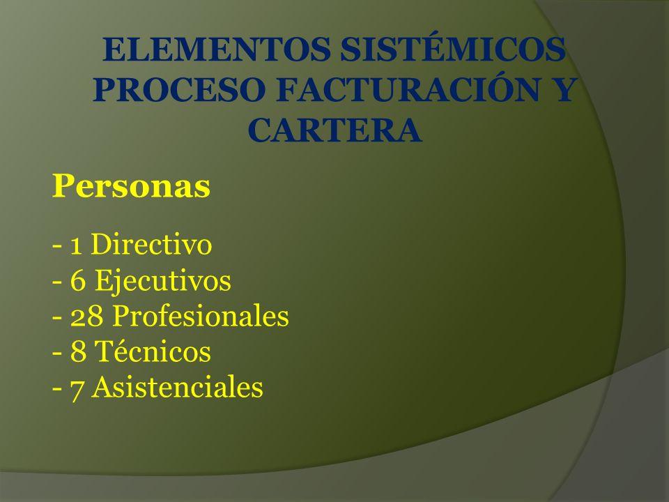 ELEMENTOS SISTÉMICOS PROCESO FACTURACIÓN Y CARTERA - 1 Directivo - 6 Ejecutivos - 28 Profesionales - 8 Técnicos - 7 Asistenciales Personas