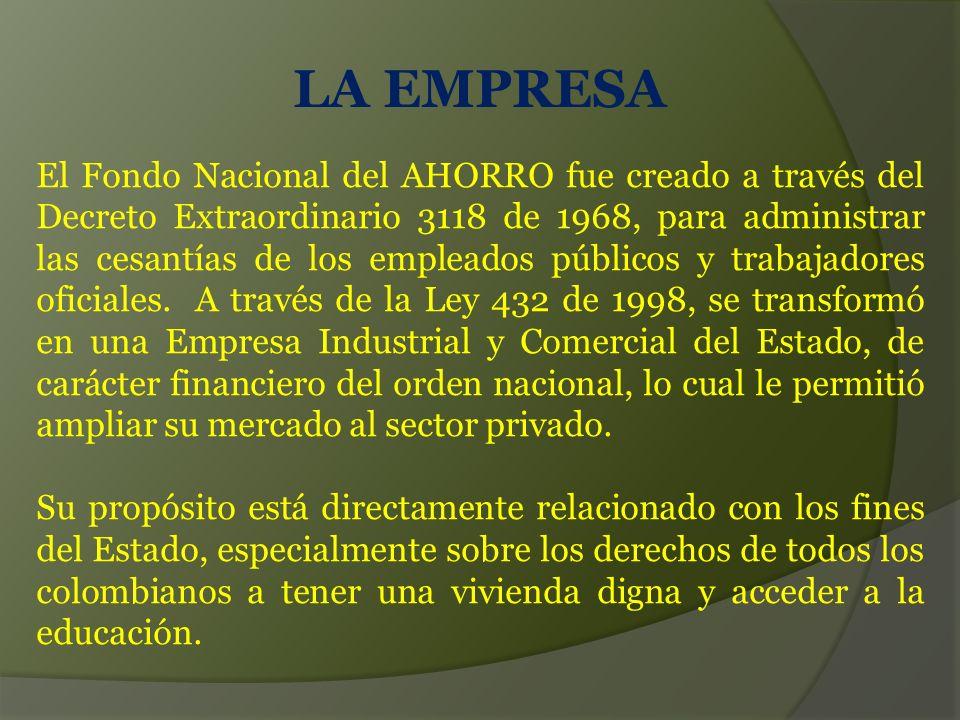 LA EMPRESA El Fondo Nacional del AHORRO fue creado a través del Decreto Extraordinario 3118 de 1968, para administrar las cesantías de los empleados públicos y trabajadores oficiales.