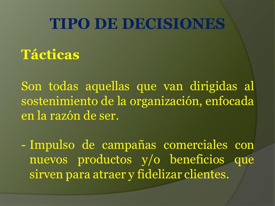 TIPO DE DECISIONES Tácticas Son todas aquellas que van dirigidas al sostenimiento de la organización, enfocada en la razón de ser.