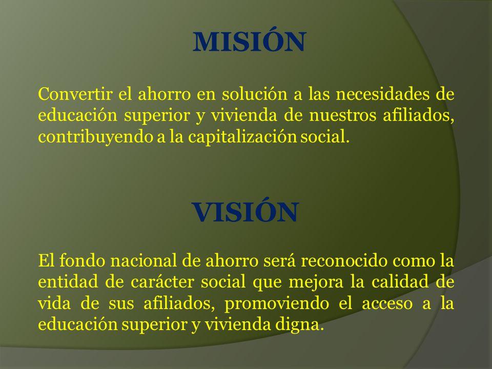 MISIÓN VISIÓN Convertir el ahorro en solución a las necesidades de educación superior y vivienda de nuestros afiliados, contribuyendo a la capitalización social.