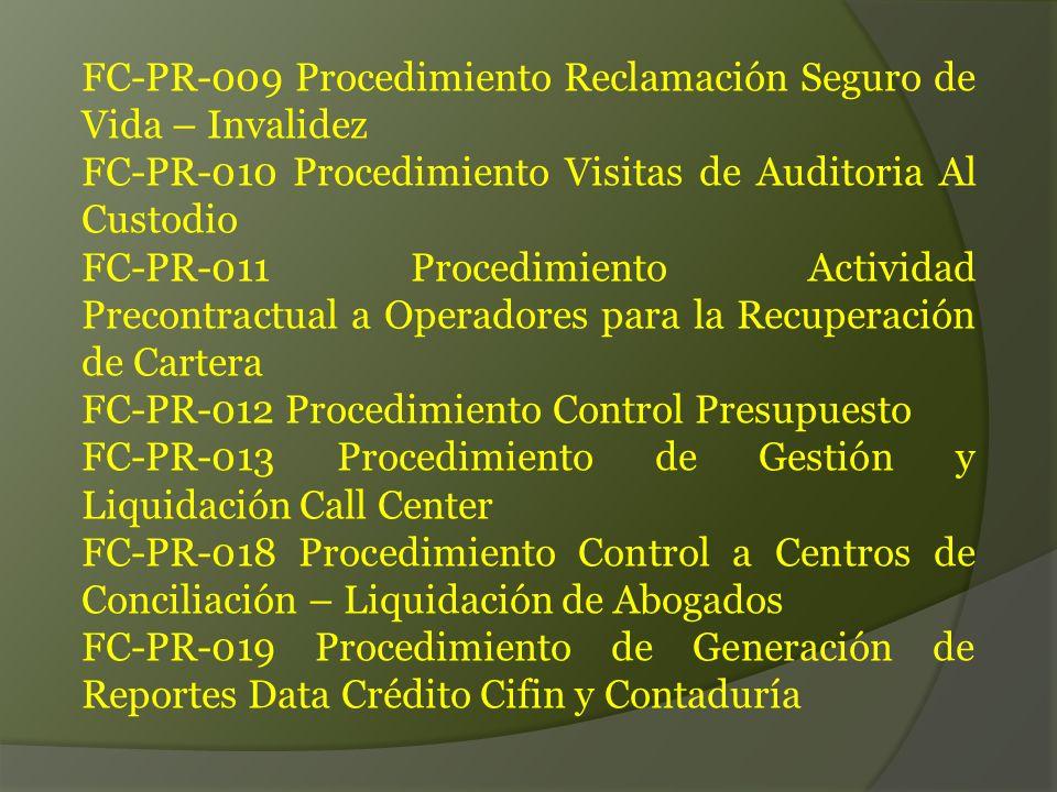 FC-PR-009 Procedimiento Reclamación Seguro de Vida – Invalidez FC-PR-010 Procedimiento Visitas de Auditoria Al Custodio FC-PR-011 Procedimiento Actividad Precontractual a Operadores para la Recuperación de Cartera FC-PR-012 Procedimiento Control Presupuesto FC-PR-013 Procedimiento de Gestión y Liquidación Call Center FC-PR-018 Procedimiento Control a Centros de Conciliación – Liquidación de Abogados FC-PR-019 Procedimiento de Generación de Reportes Data Crédito Cifin y Contaduría