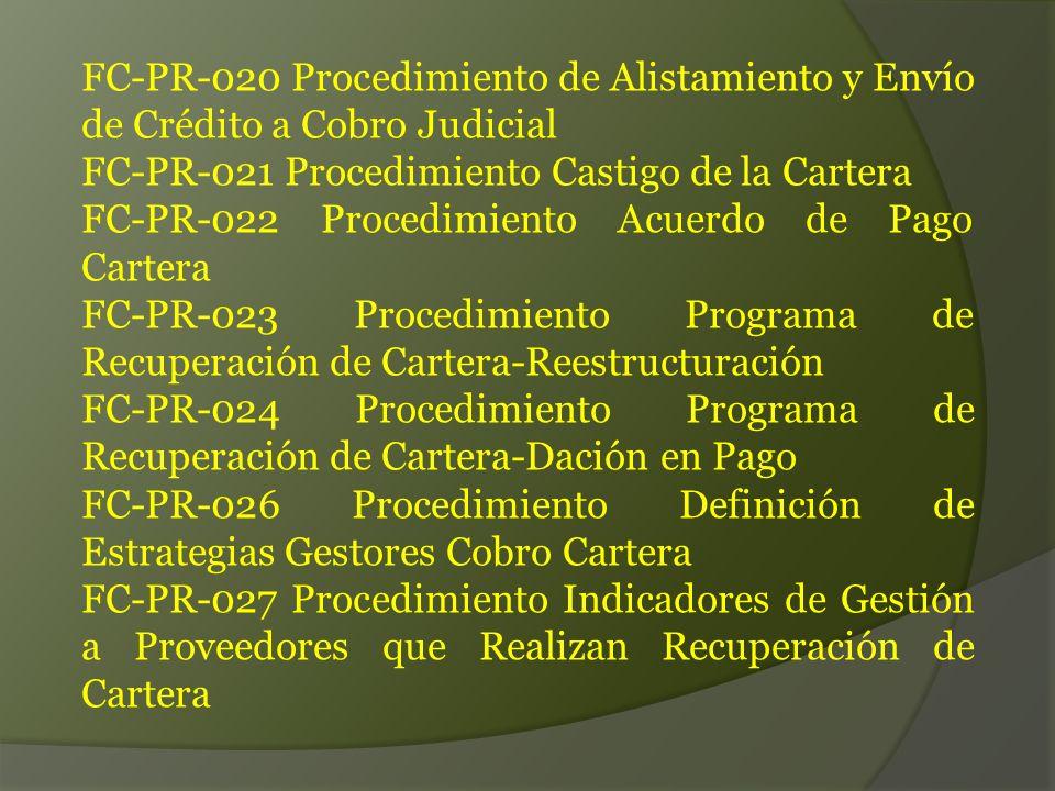 FC-PR-020 Procedimiento de Alistamiento y Envío de Crédito a Cobro Judicial FC-PR-021 Procedimiento Castigo de la Cartera FC-PR-022 Procedimiento Acuerdo de Pago Cartera FC-PR-023 Procedimiento Programa de Recuperación de Cartera-Reestructuración FC-PR-024 Procedimiento Programa de Recuperación de Cartera-Dación en Pago FC-PR-026 Procedimiento Definición de Estrategias Gestores Cobro Cartera FC-PR-027 Procedimiento Indicadores de Gestión a Proveedores que Realizan Recuperación de Cartera