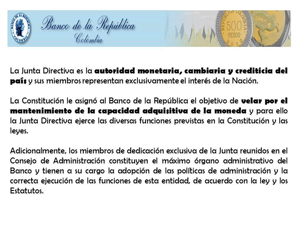 La Junta Directiva es la autoridad monetaria, cambiaria y crediticia del país y sus miembros representan exclusivamente el interés de la Nación.