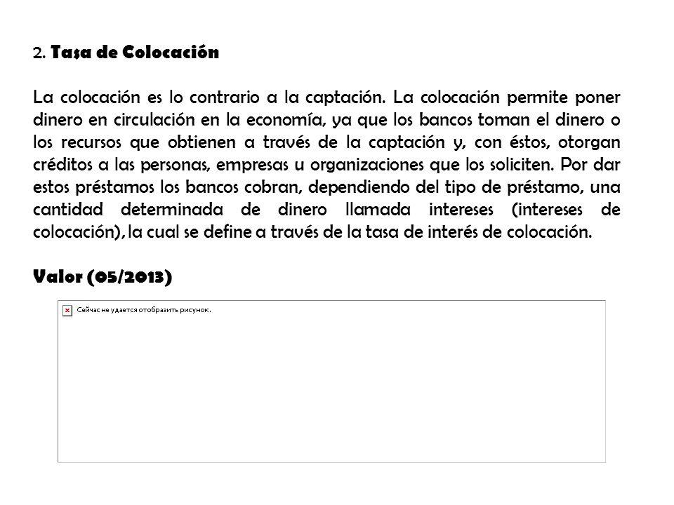 2.Tasa de Colocación La colocación es lo contrario a la captación.
