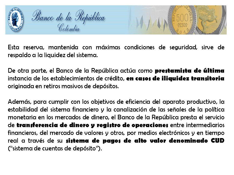 Esta reserva, mantenida con máximas condiciones de seguridad, sirve de respaldo a la liquidez del sistema.