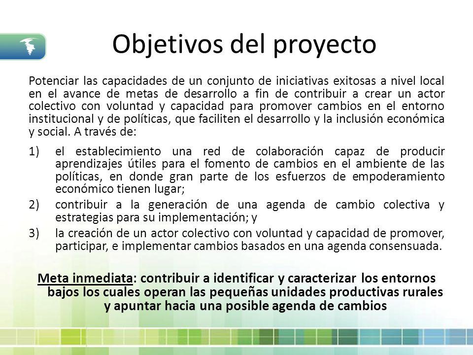 Objetivos del proyecto Potenciar las capacidades de un conjunto de iniciativas exitosas a nivel local en el avance de metas de desarrollo a fin de con