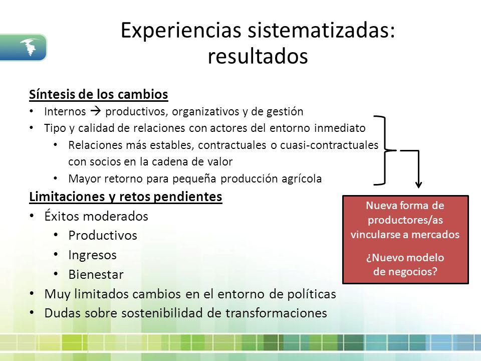 Síntesis de los cambios Internos productivos, organizativos y de gestión Tipo y calidad de relaciones con actores del entorno inmediato Relaciones más