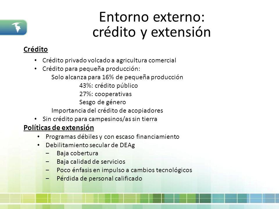 Entorno externo: crédito y extensión Crédito Crédito privado volcado a agricultura comercial Crédito para pequeña producción: Solo alcanza para 16% de