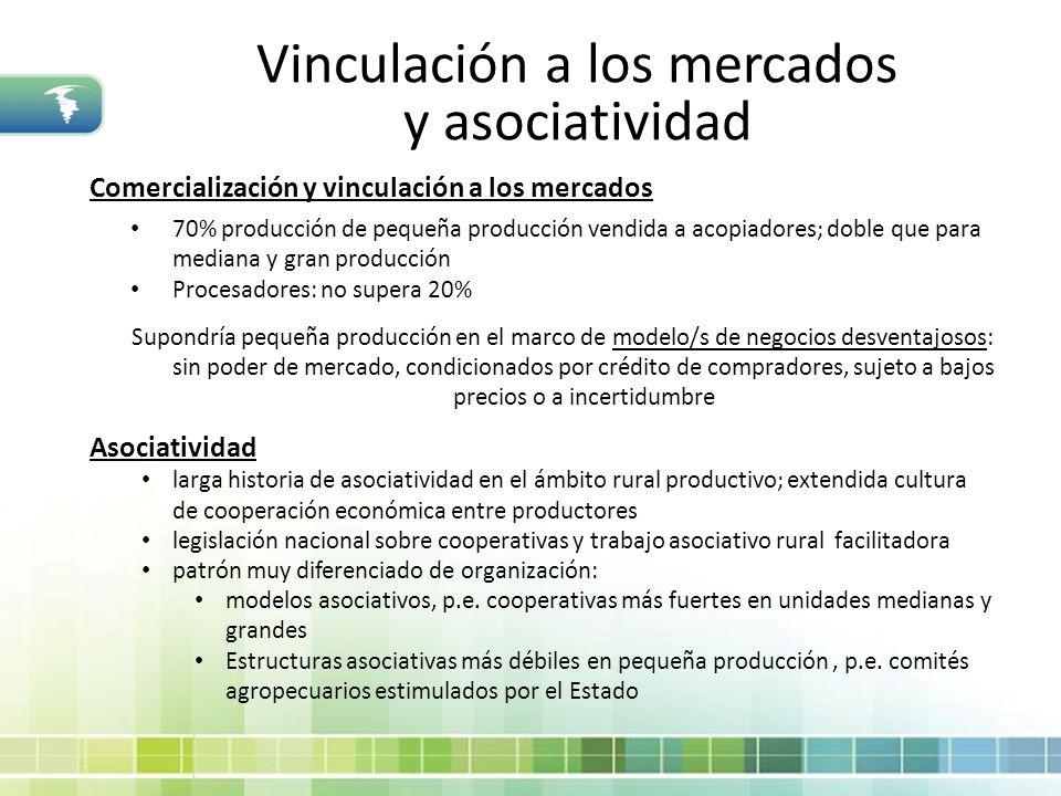 Vinculación a los mercados y asociatividad Comercialización y vinculación a los mercados 70% producción de pequeña producción vendida a acopiadores; d