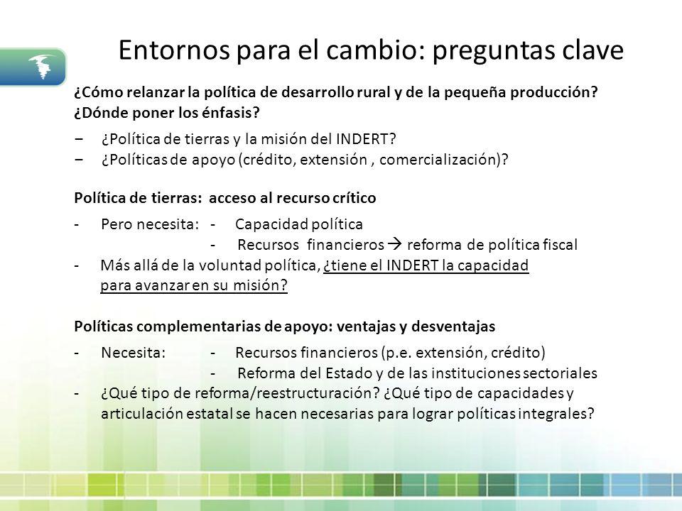 Entornos para el cambio: preguntas clave ¿Cómo relanzar la política de desarrollo rural y de la pequeña producción? ¿Dónde poner los énfasis? ¿Polític