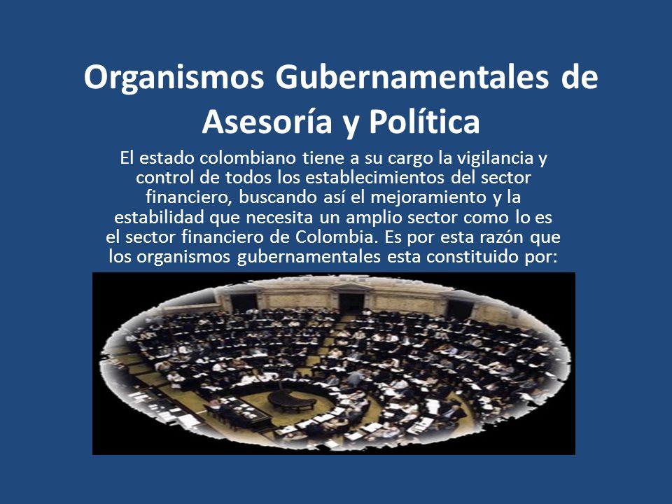 Organismos Gubernamentales de Asesoría y Política El estado colombiano tiene a su cargo la vigilancia y control de todos los establecimientos del sect