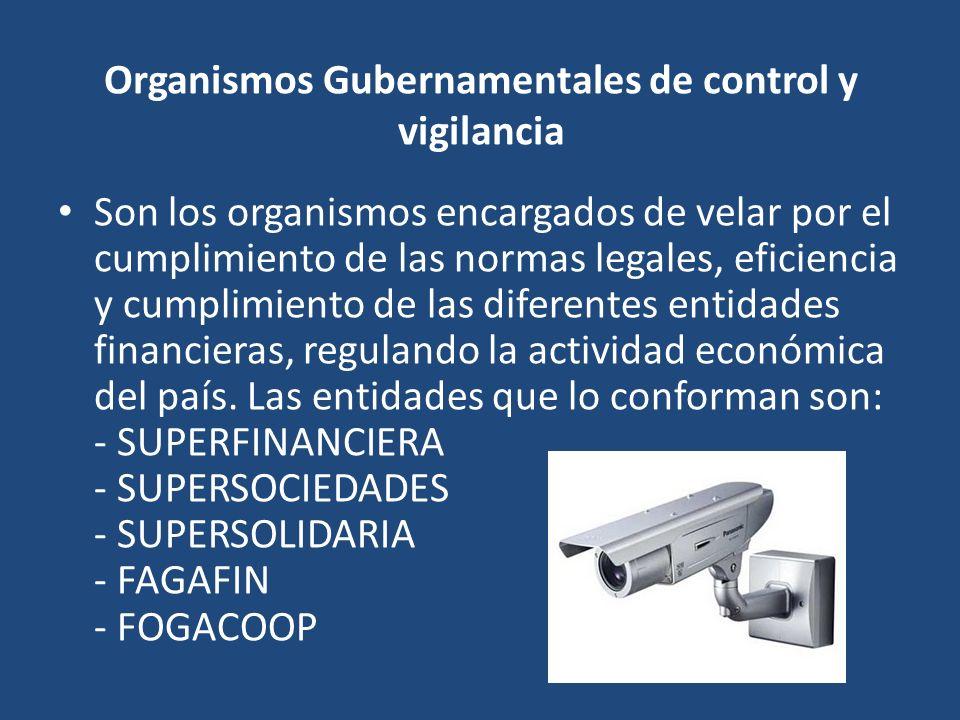 Organismos Gubernamentales de control y vigilancia Son los organismos encargados de velar por el cumplimiento de las normas legales, eficiencia y cump