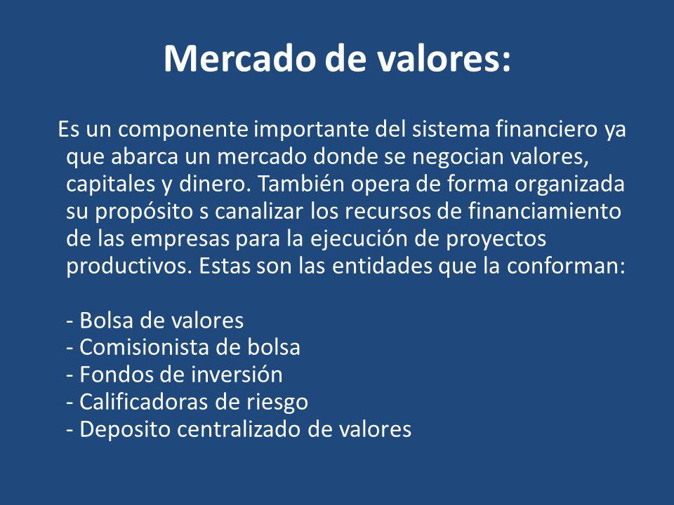 Mercado de valores: Es un componente importante del sistema financiero ya que abarca un mercado donde se negocian valores, capitales y dinero. También