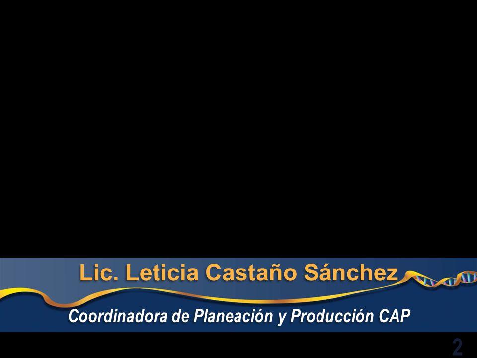 Lic. Leticia Castaño Sánchez Coordinadora de Planeación y Producción CAP 2