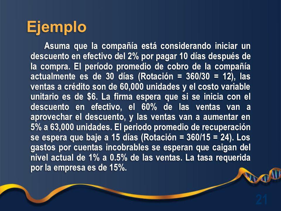 Ejemplo Asuma que la compañía está considerando iniciar un descuento en efectivo del 2% por pagar 10 días después de la compra.