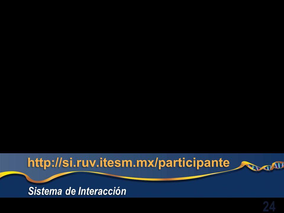 http://si.ruv.itesm.mx/participante Sistema de Interacción 24