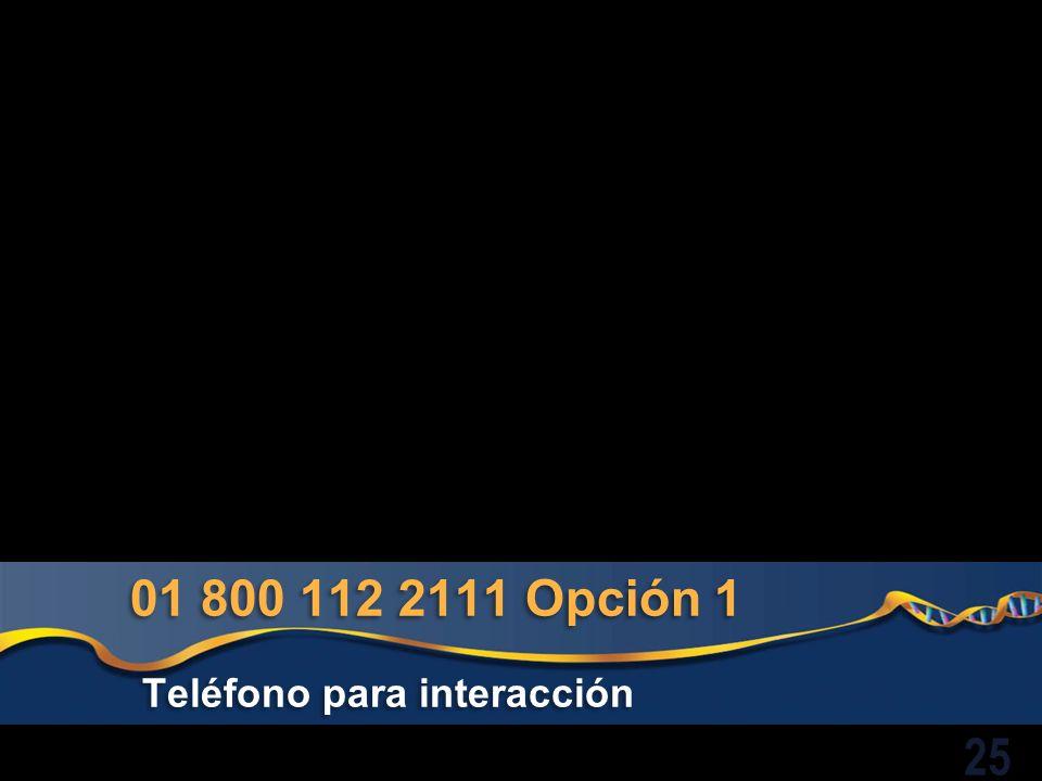 01 800 112 2111 Opción 1 Teléfono para interacción 25