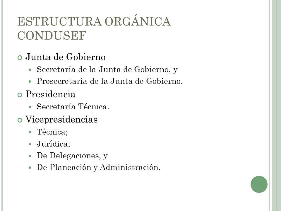 ESTRUCTURA ORGÁNICA CONDUSEF Junta de Gobierno Secretaría de la Junta de Gobierno, y Prosecretaría de la Junta de Gobierno. Presidencia Secretaría Téc