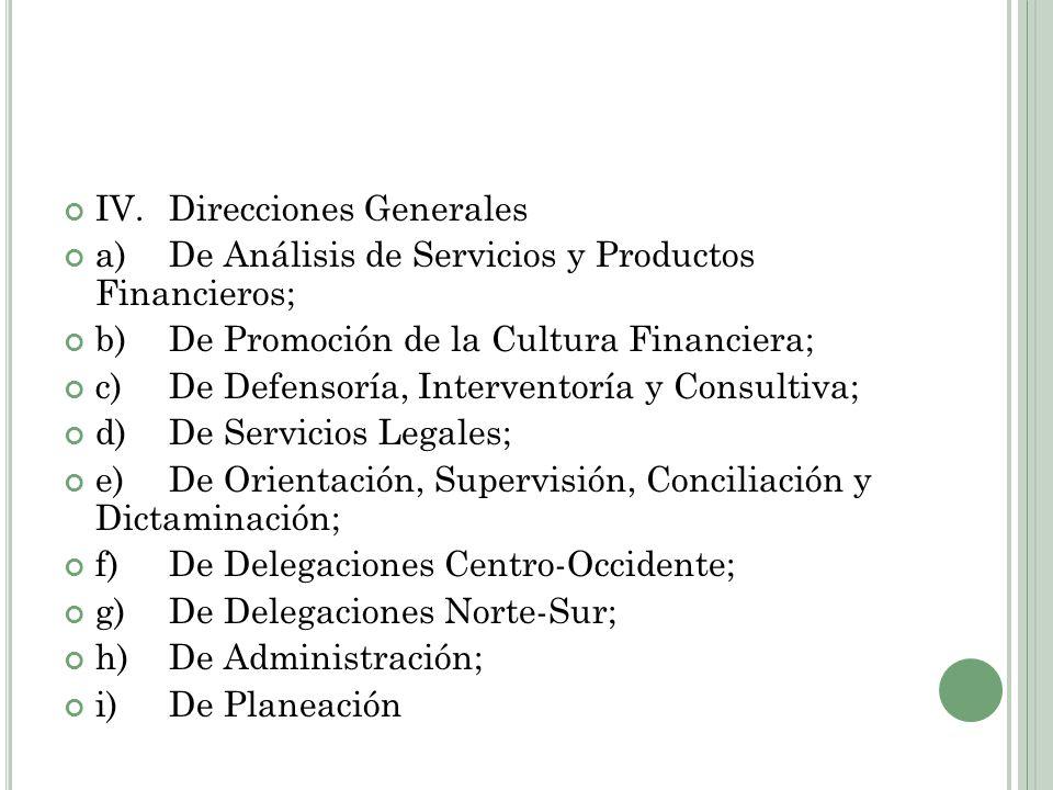 IV.Direcciones Generales a)De Análisis de Servicios y Productos Financieros; b)De Promoción de la Cultura Financiera; c)De Defensoría, Interventoría y