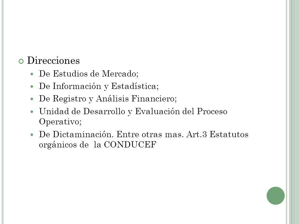 Direcciones De Estudios de Mercado; De Información y Estadística; De Registro y Análisis Financiero; Unidad de Desarrollo y Evaluación del Proceso Ope