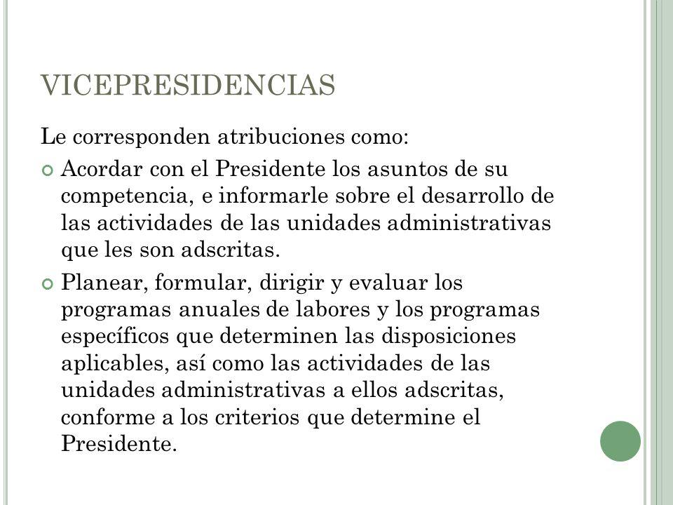VICEPRESIDENCIAS Le corresponden atribuciones como: Acordar con el Presidente los asuntos de su competencia, e informarle sobre el desarrollo de las a