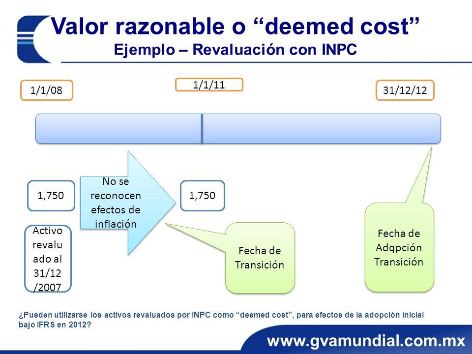 Valor razonable o deemed cost Ejemplo – Revaluación con INPC 1/1/08 1/1/11 31/12/12 1,750 No se reconocen efectos de inflación Fecha de Transición ¿Pueden utilizarse los activos revaluados por INPC como deemed cost, para efectos de la adopción inicial bajo IFRS en 2012.