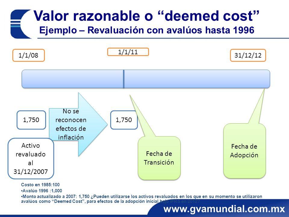 Valor razonable o deemed cost Ejemplo – Revaluación con avalúos hasta 1996 1/1/08 1/1/11 31/12/12 1,750 No se reconocen efectos de inflación Fecha de Transición Costo en 1985:100 Avalúo 1996 :1,000 Monto actualizado a 2007: 1,750 ¿Pueden utilizarse los activos revaluados en los que en su momento se utilizaron avalúos como Deemed Cost, para efectos de la adopción inicial bajo IFRS en 2012.