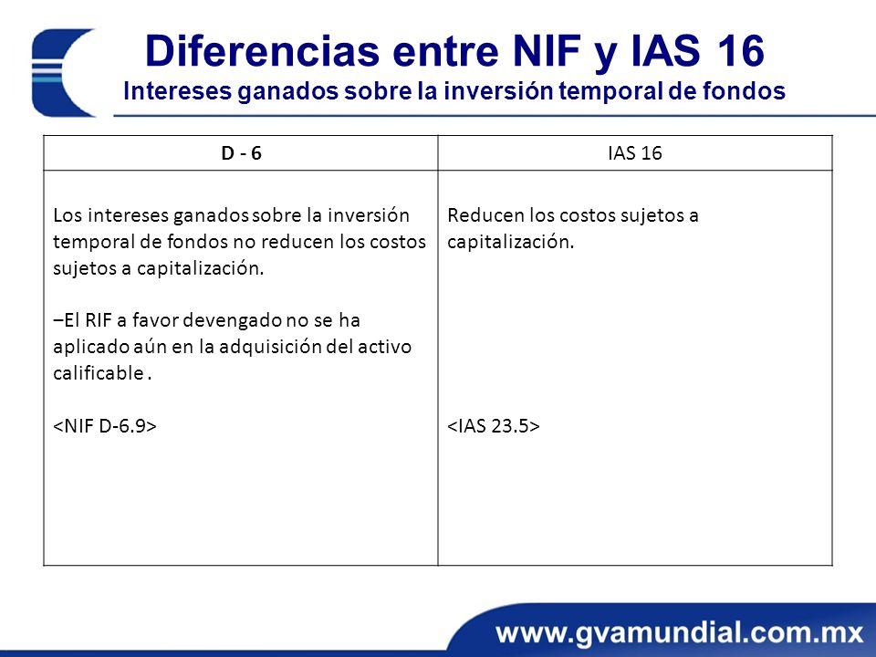 Diferencias entre NIF y IAS 16 Intereses ganados sobre la inversión temporal de fondos D - 6IAS 16 Los intereses ganados sobre la inversión temporal de fondos no reducen los costos sujetos a capitalización.