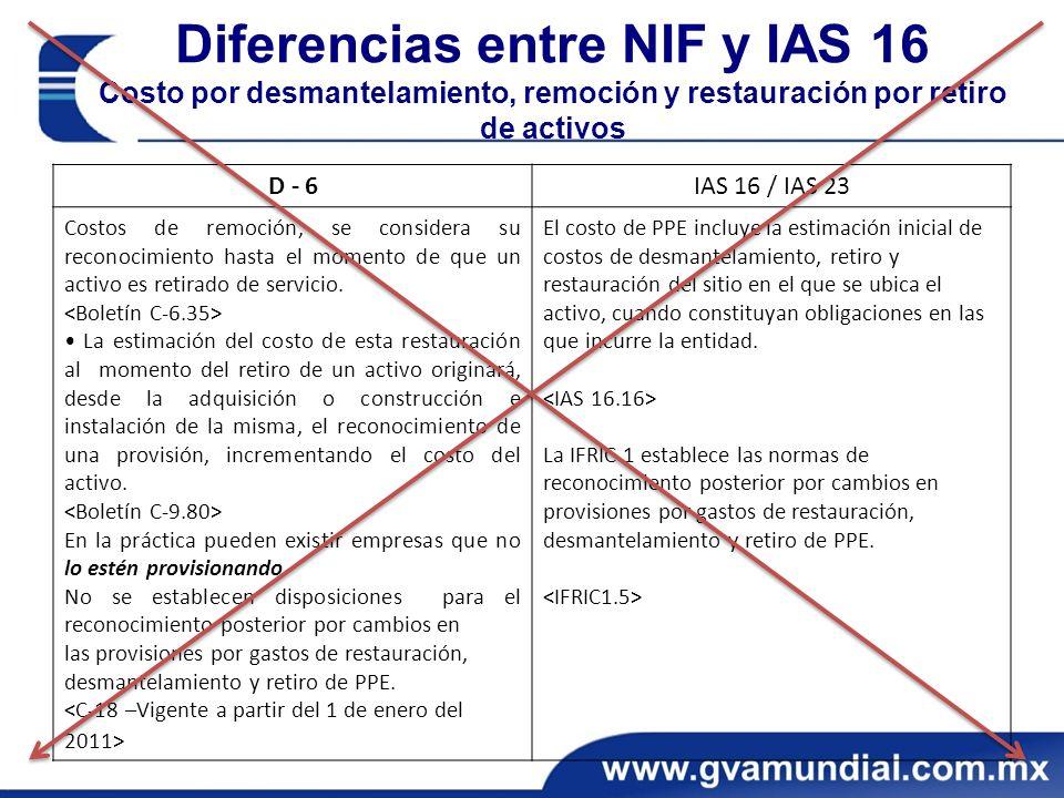 Diferencias entre NIF y IAS 16 Costo por desmantelamiento, remoción y restauración por retiro de activos D - 6IAS 16 / IAS 23 Costos de remoción, se considera su reconocimiento hasta el momento de que un activo es retirado de servicio.
