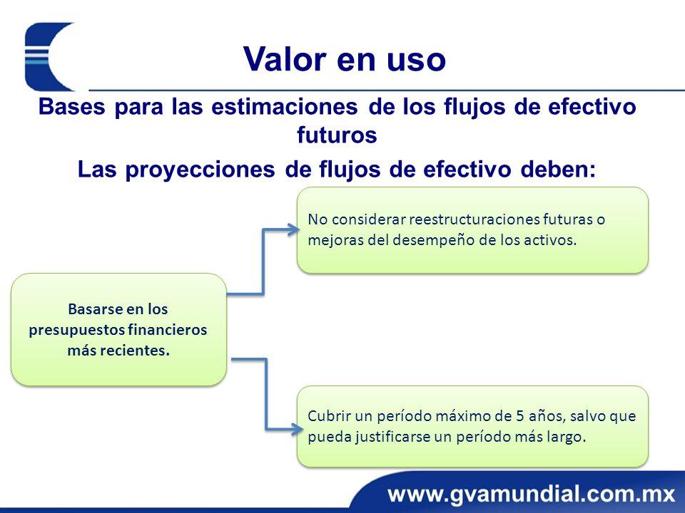 Valor en uso Bases para las estimaciones de los flujos de efectivo futuros Las proyecciones de flujos de efectivo deben: Basarse en los presupuestos financieros más recientes.
