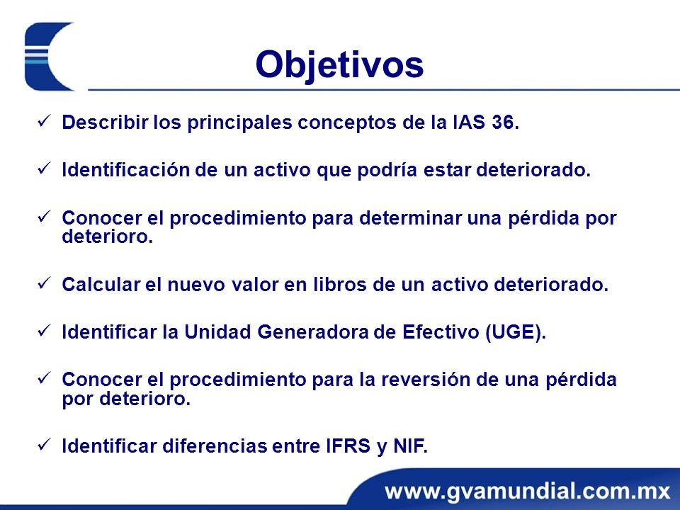 Objetivos Describir los principales conceptos de la IAS 36.