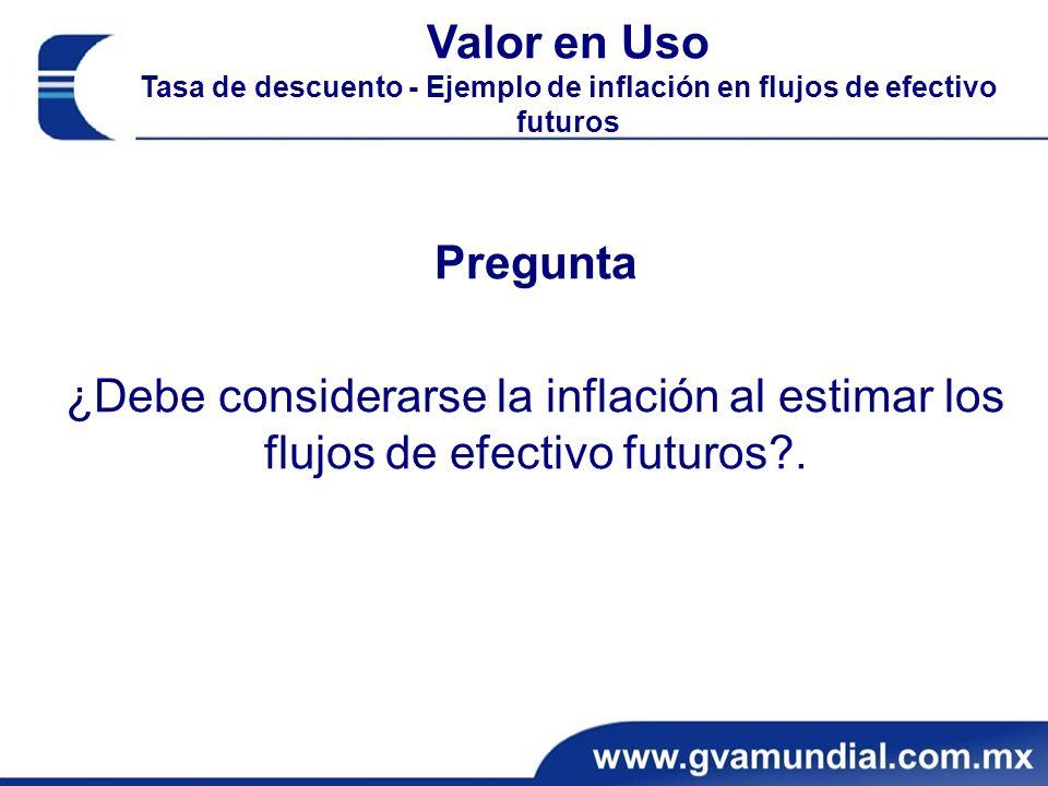 Pregunta ¿Debe considerarse la inflación al estimar los flujos de efectivo futuros?.