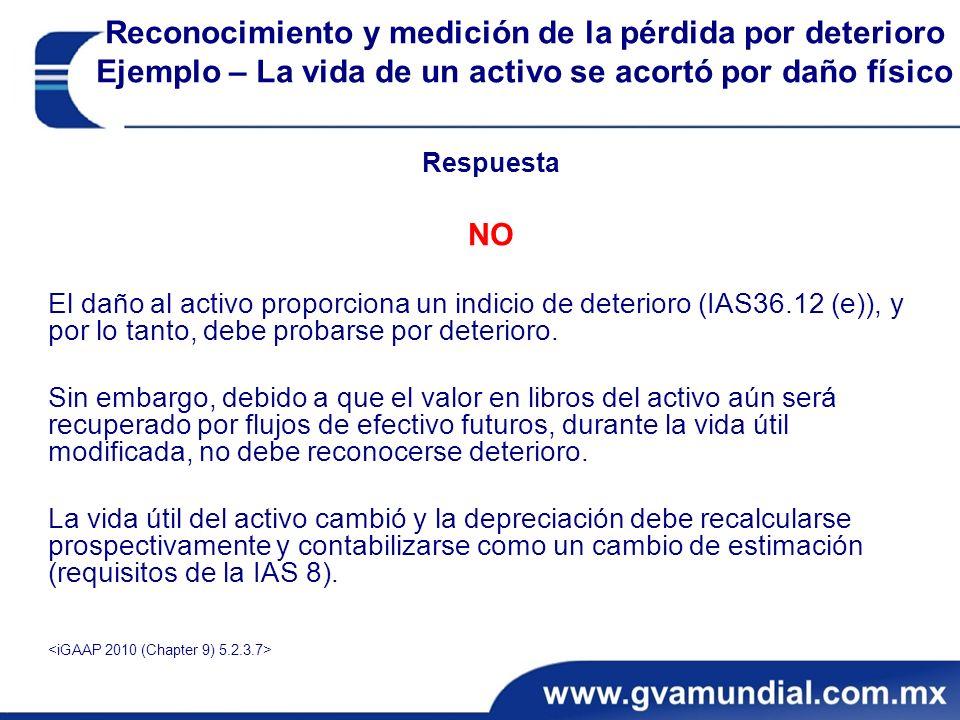 Respuesta NO El daño al activo proporciona un indicio de deterioro (IAS36.12 (e)), y por lo tanto, debe probarse por deterioro.