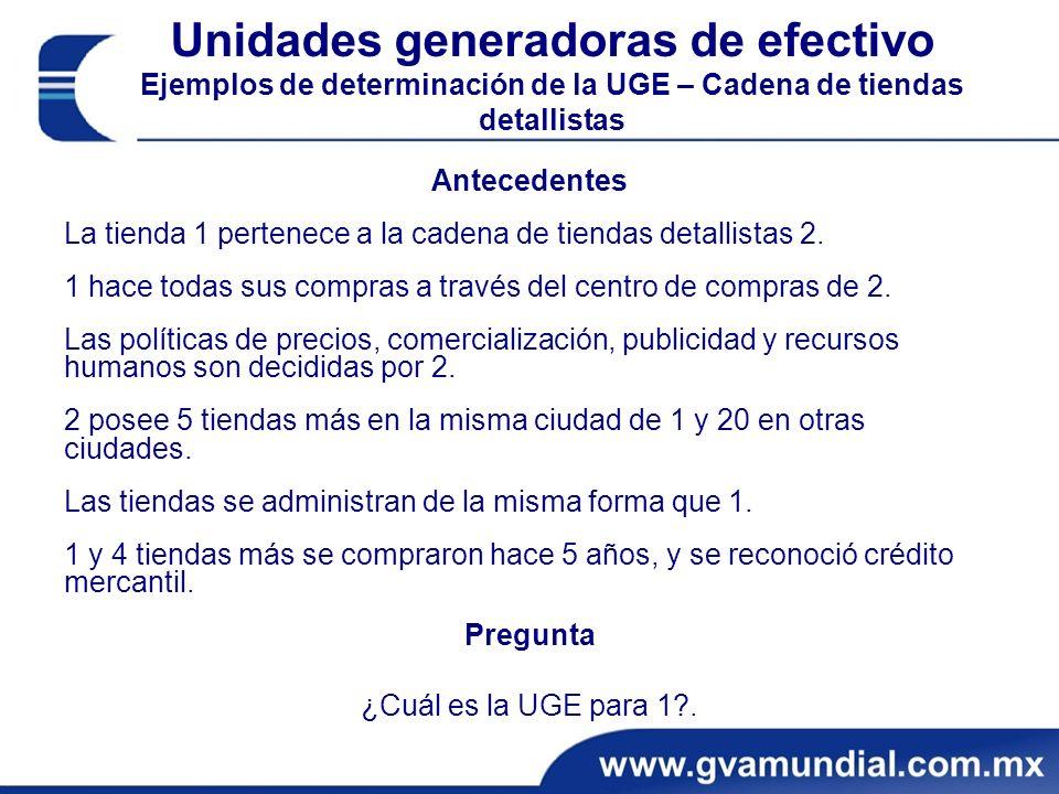 Unidades generadoras de efectivo Ejemplos de determinación de la UGE – Cadena de tiendas detallistas Antecedentes La tienda 1 pertenece a la cadena de tiendas detallistas 2.