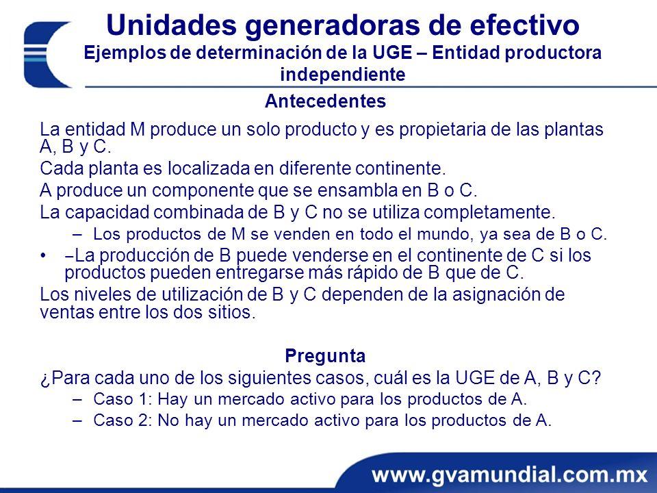 Unidades generadoras de efectivo Ejemplos de determinación de la UGE – Entidad productora independiente Antecedentes La entidad M produce un solo producto y es propietaria de las plantas A, B y C.