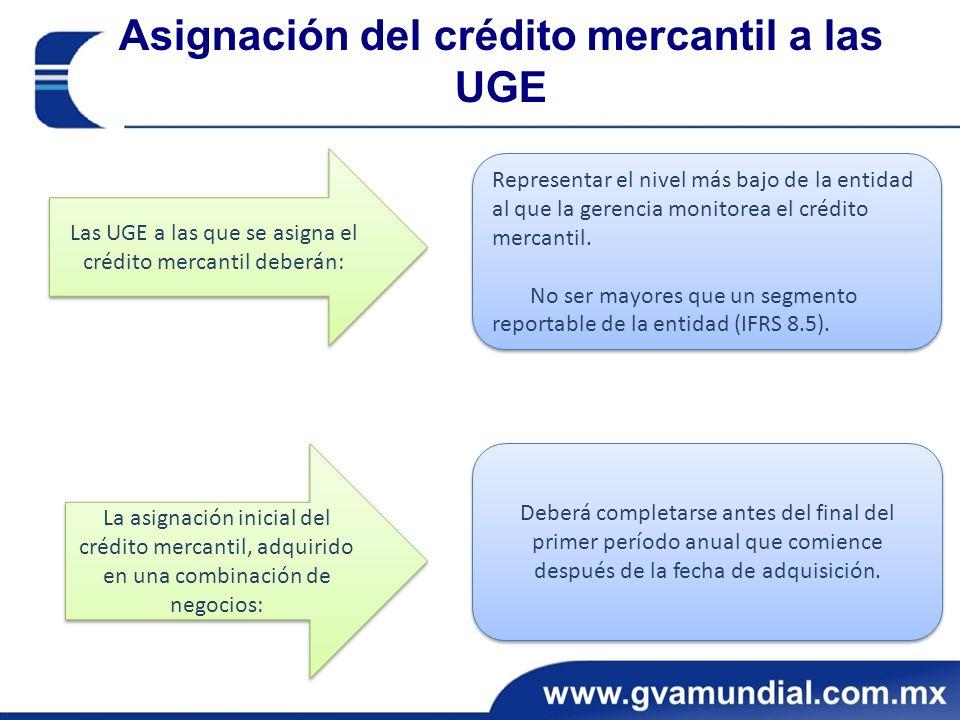 Asignación del crédito mercantil a las UGE Las UGE a las que se asigna el crédito mercantil deberán: Representar el nivel más bajo de la entidad al que la gerencia monitorea el crédito mercantil.
