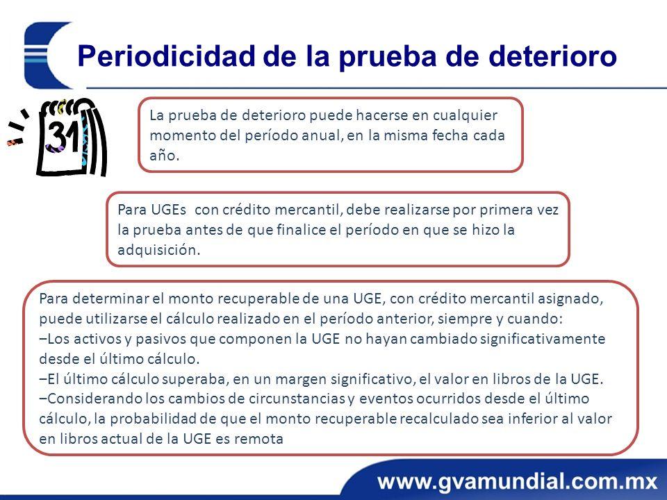 Periodicidad de la prueba de deterioro La prueba de deterioro puede hacerse en cualquier momento del período anual, en la misma fecha cada año.