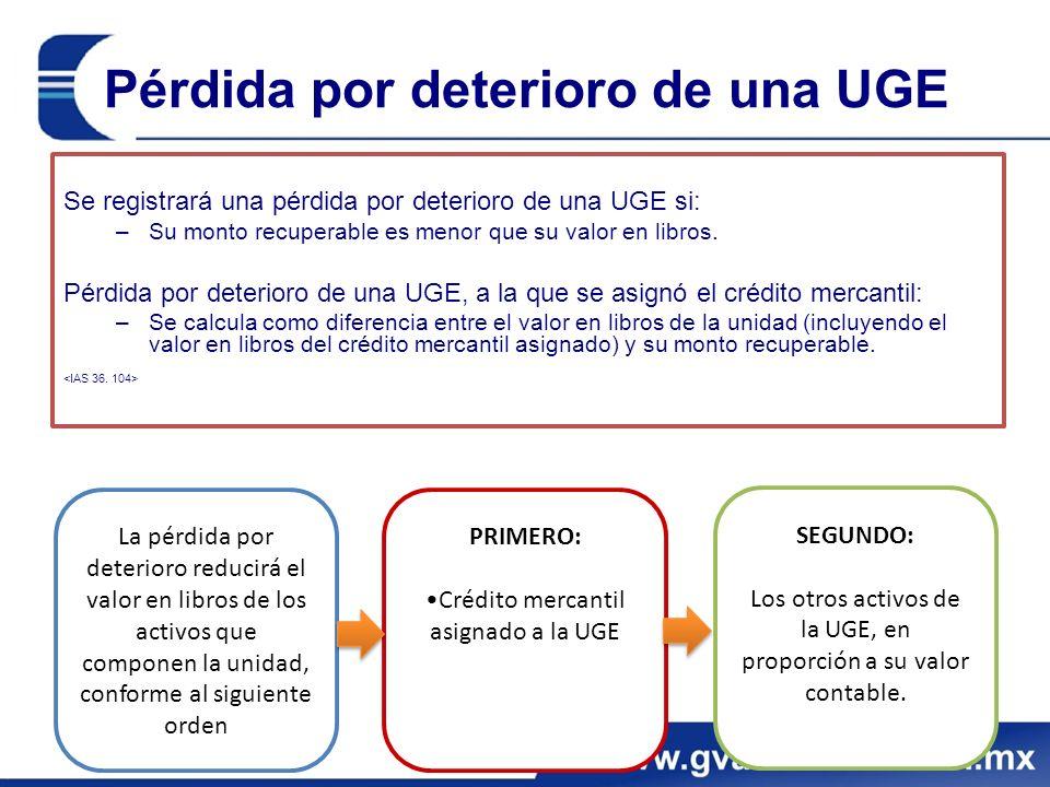 Pérdida por deterioro de una UGE Se registrará una pérdida por deterioro de una UGE si: –Su monto recuperable es menor que su valor en libros.